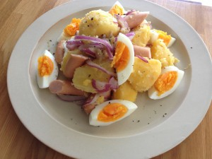 hot potato salada with anchovy butter